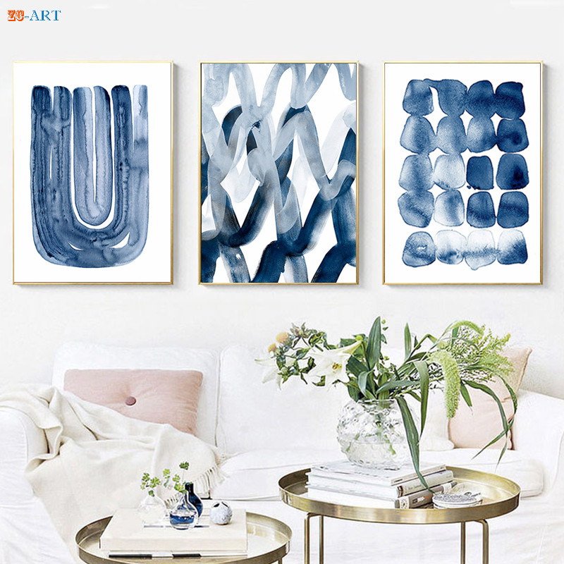 Minimalist Abstract Watercolor Painting Navy Blue Wall Art Canvas Painting Poster Print Wall Pictures For Living Room Home Decor