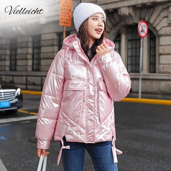 Vielleicht 2020 New Arrival Women Winter Jacket Shining Fabric Cotton Padded Warm Thicken Short Coat Hooded Fashion Parka Female 2015 new arrival fashion men winter splicing cotton padded coat jacket winter plus size high quality corduroy parka h4597