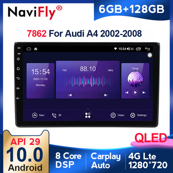 NEW! 6+128G Android10 API29 QLED Car Auto Radio Multimedia player For Audi A4 2002-2008 with DSP BT5.0 WIFi carplay Auto image