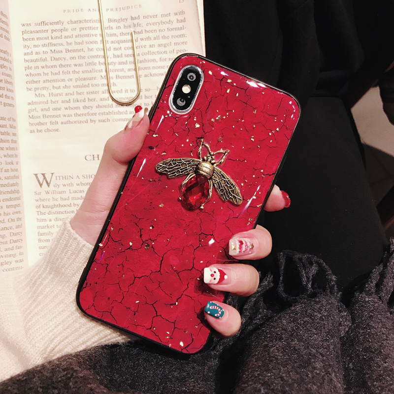 Glitter Bling gold foil marble diamond <font><b>3D</b></font> bee phong <font><b>case</b></font> for iphone X XS MAX XR 7 8 <font><b>6</b></font> 6s plus cover <font><b>cases</b></font> For <font><b>oneplus</b></font> 7 pro capa image