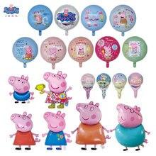 Peggy 10 Pçs/lote Grandes Balões Peppa Pig George Mão Vara Dos Desenhos Animados do Filme de Alumínio Balão De Hélio para Crianças Festa de Aniversário Decoração Globos