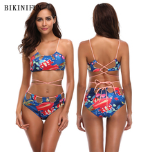 New Sexy Strappy Bandage Bikini Women Swimsuit Floral Print Bathing Suit S-XL Girl Backless Paded Halter Swimwear Hollow Bikini