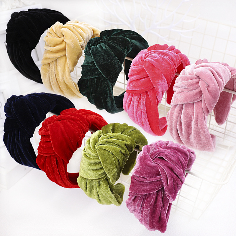 Xugar Wide Wide Velvet Knot Hairband For Women Handmade Soft Knotted Headband Lady Girls Bohemian Hair Accessories