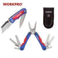 Workpro faca de utilidade dupla lâmina faca 15 em 1 multi alicate 2 pc conjunto ferramentas acampamento ao ar livre
