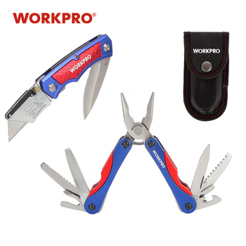 WORKPRO Utility Knife Twin Blade Knife 15 in 1 Multi Pliers 2PC Outdoor Camping Tool Set