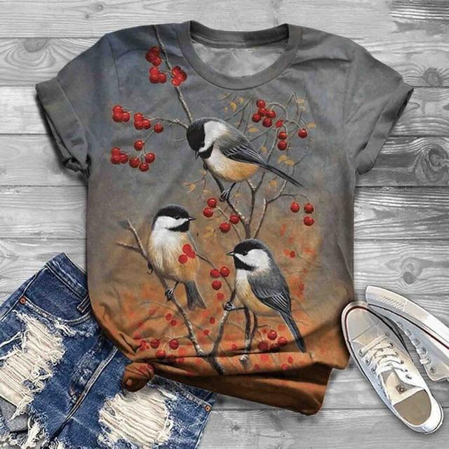 Multi Beautiful Printed Short Sleeve Casual Women T-Shirts
