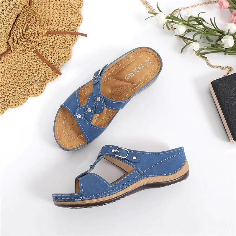 Women Summer Open Toe Comfy Sandals Super Soft Premium Orthopedic Low Heels Walking Sandals Corrector Sandalias De Mujer Verano