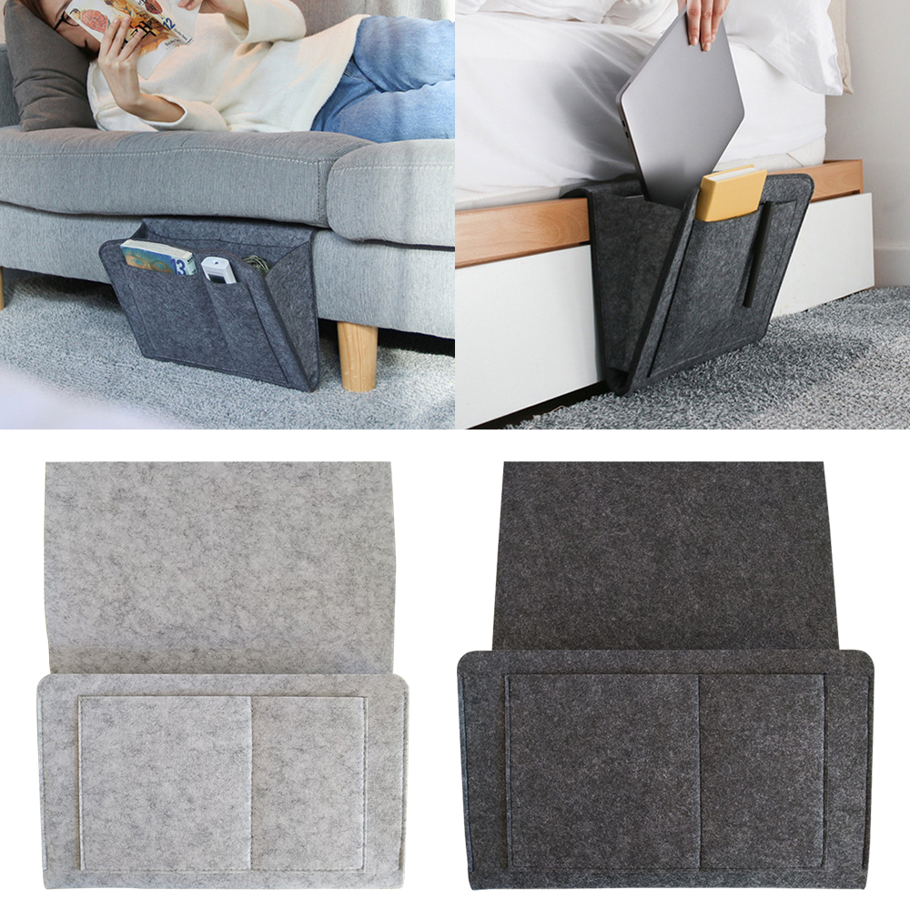 Bedside Hanging Storage Organizer Bed Storage Bag Pocket Felt Dorm Room Book Magazine TV Remote  Bunk Holder ForSofa Table