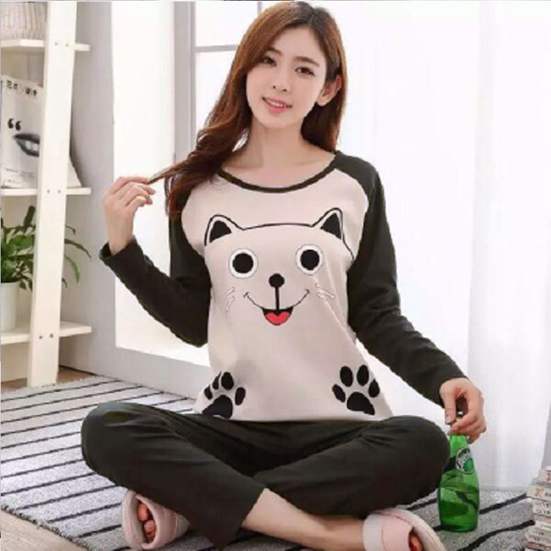 Shakespeare Fort Beauty New Products Crew Neck Long Sleeve Pajamas Women's Autumn Cartoon Cute Plus-sized Less Women's Home Wear