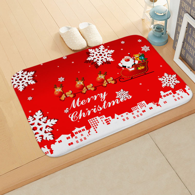 60*40cm Carpet Merry Christmas Decoration for Home Christmas 2019 Ornaments Garland New Year 2020 Noel Santa Claus Xmas Snowman