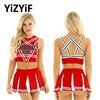 Women Charming Cheerleader Costume Sleeveless Pentagram Back Crop Top with Mini Pleated Skirt Charming Cheerleader sexy Cosplay