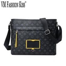 VM FASHION KISS NEW Men's Business Shoulder Bags PVC Crossbody Bag Luxury Brand Bag Bolsos Hombre Vintage Male Casual Handbag