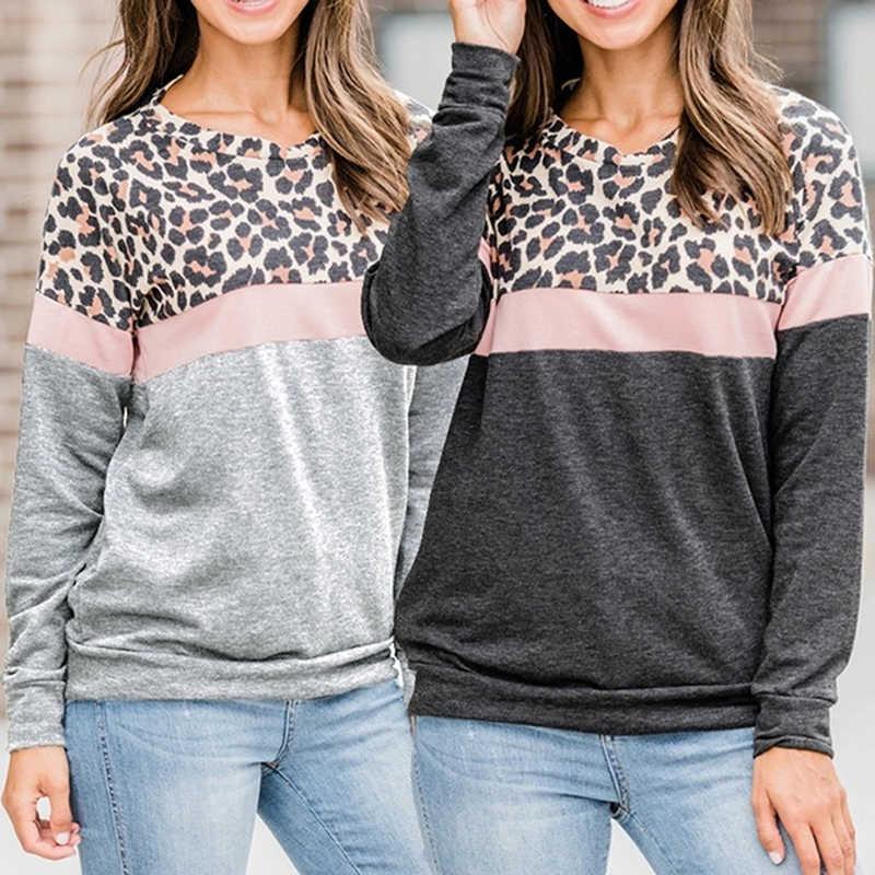 Moda mujer leopardo camiseta Casual manga larga otoño camiseta primavera superior Camisetas Mujer señoras camiseta Patchwork ropa de talla grande