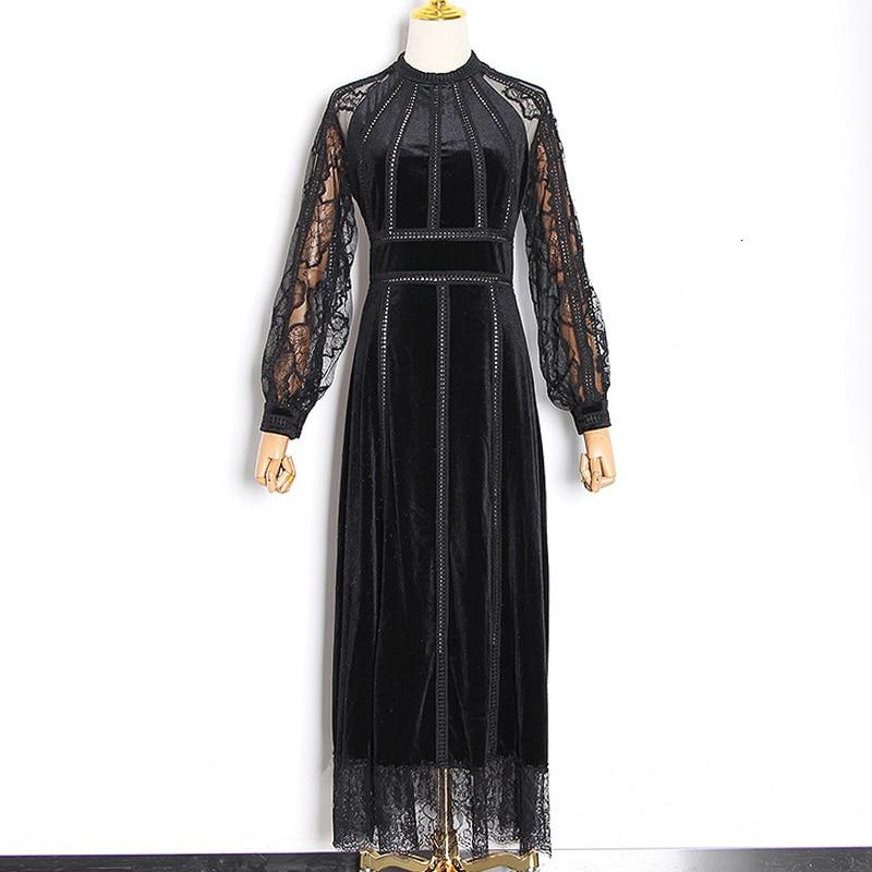 Élégante robe en dentelle noire femmes à manches longues pure creux tunique Maxi longue robe