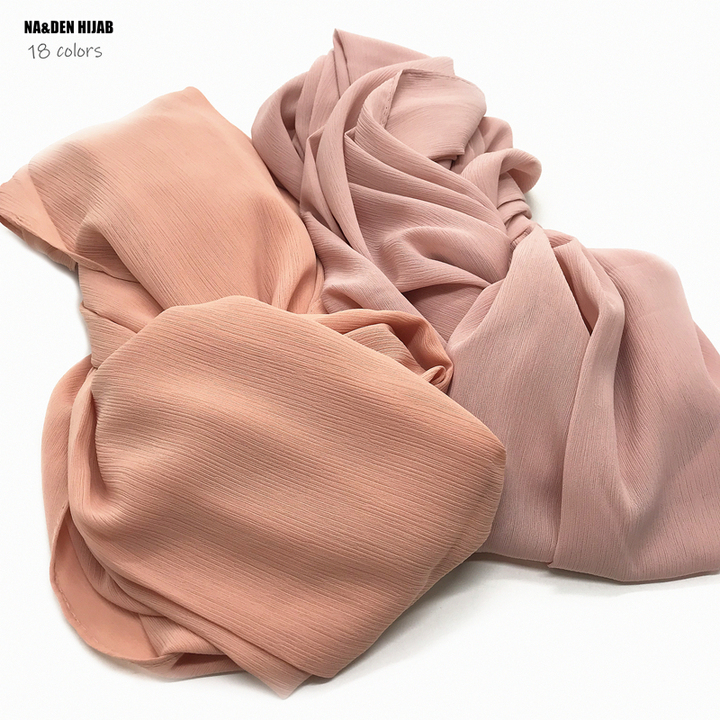 High Quality Plain Crepe Chiffon Hijab Scarf Gorgeous Solid Muslim Scarfs Natural Pleated Scarves Hot Sale Maxi Hijabs