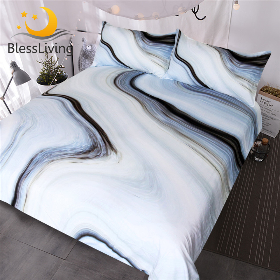 BlessLiving Marble Bedding Set Black White Gray Duvet Cover Set Rock 3-Piece Bed Cover Nature Inspired Abstract Bedspreads Queen