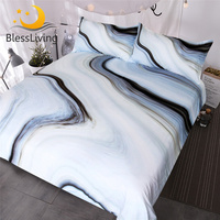 BlessLiving Marble Bedding Set Black White Gray Duvet Cover Set Rock 3 Piece Bed Cover Nature Inspired Abstract Bedspreads Queen