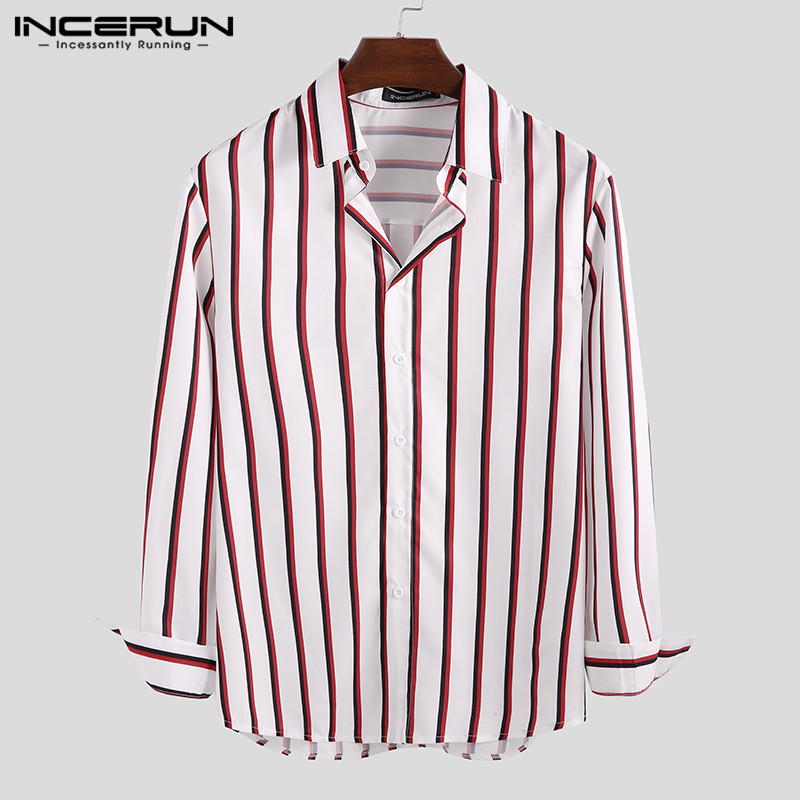 INCERUN Striped Fashion Long Sleeve Dress Shirt Men Breathable Turn-down Collar Basic Casual Camisa High Street Shirts Men 2020