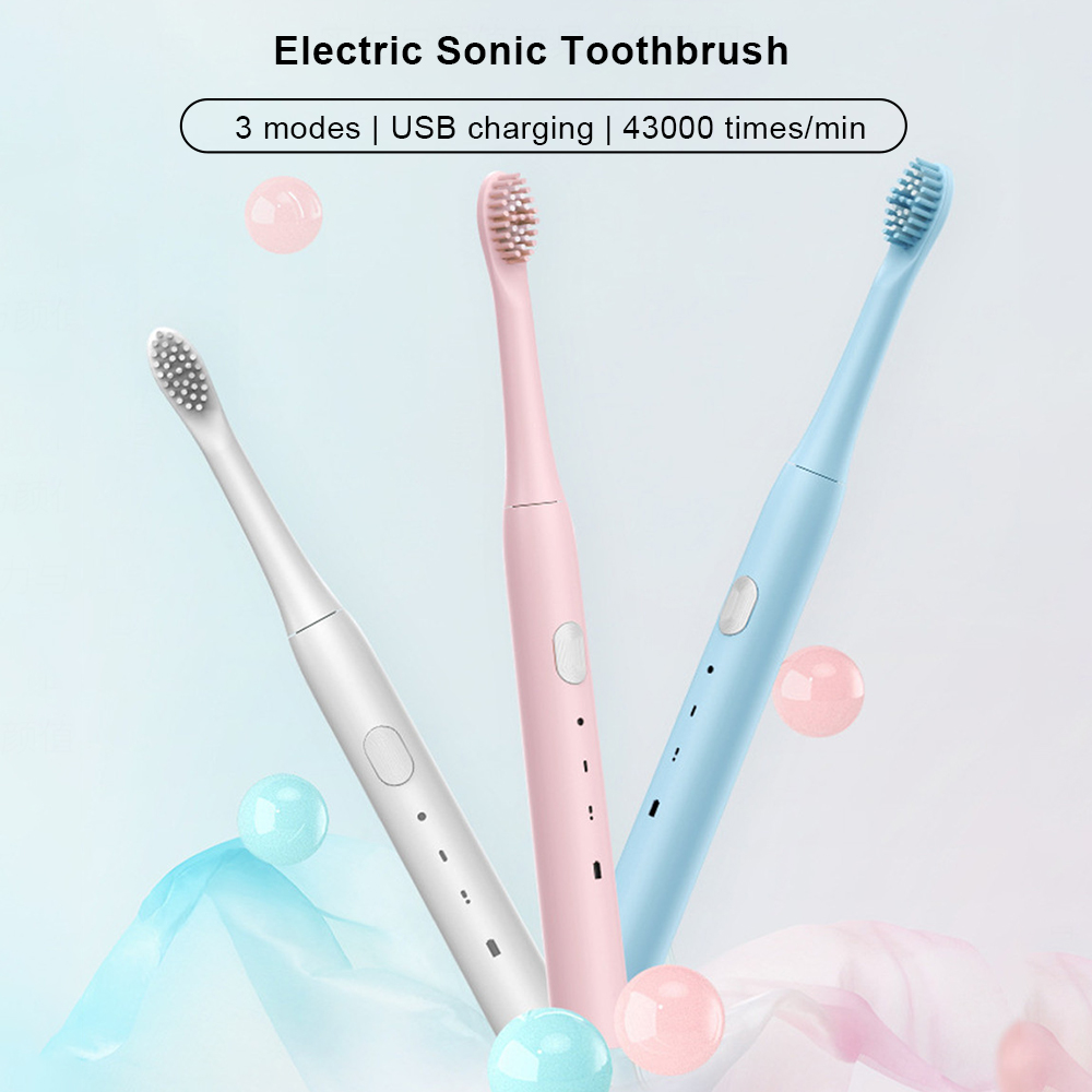 Sonic Toothbrush Electric Toothbrush USB Rechargeable Tooth Brushes Portable Automatic Teeth Clean Adult Brush IPX7 Waterproof