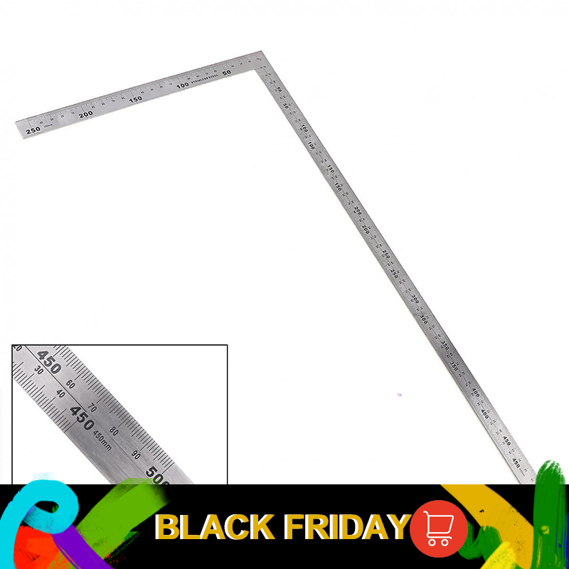 250 X 500mm Thicker 2mm Stainless Steel 90 Degree Right Angle Ruler For Woodworking / Office