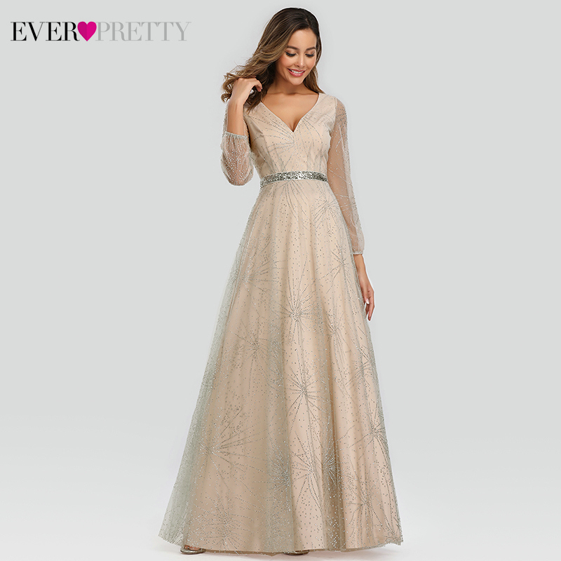 Sparkle Tulle   Prom     Dresses   Ever Pretty A-Line V-Neck Full Sleeve Elegant Grey Evening Party Gowns Vestidos Largos De Fiesta 2019