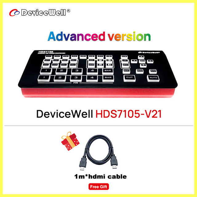 DeviceWell HDS7105-V21 Video Switcher 5-CH Video Switcher 1*DP SWITCHER for Video Stream HDS7105_V2021 NEW 2021 Version