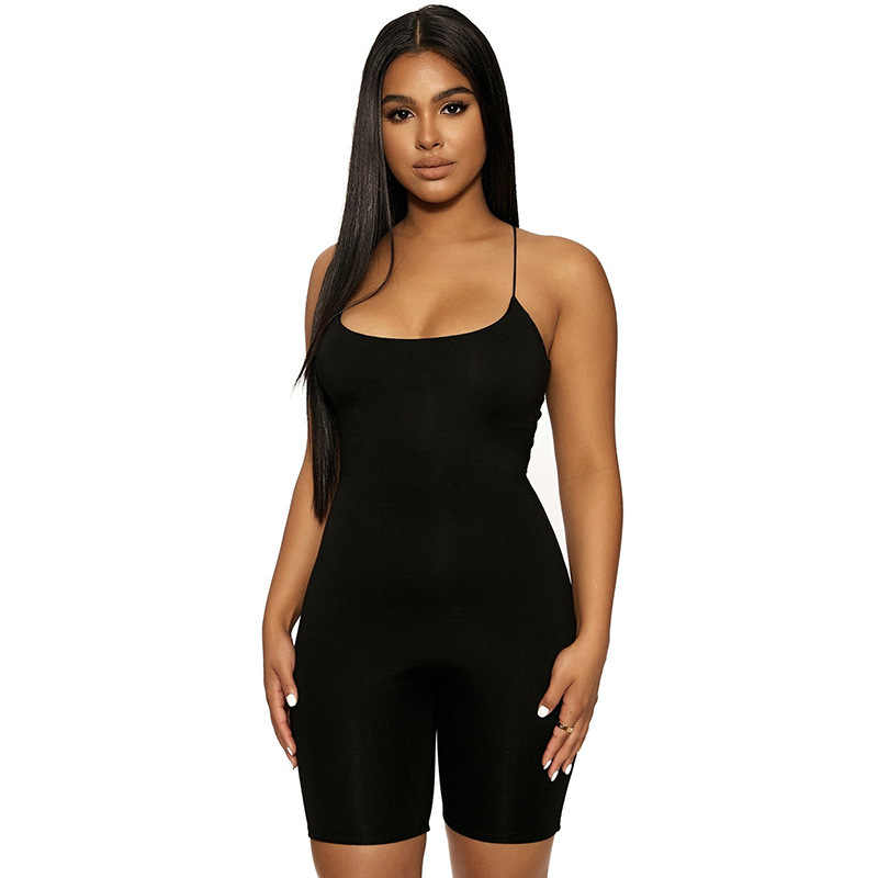 Sytiz 여름 스트레치 슬림 Playsuits 여성 Rompers 2020 슬링 기본 레드 블랙 민소매 짧은 Jumpsuit 스트리트 캐주얼 Femme 새로운