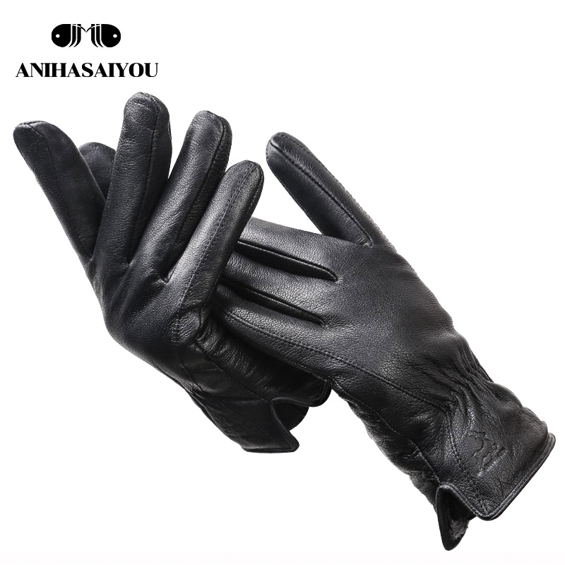 2019 New Deer Skin Gloves Male Winter,Simple Mens Leather Gloves, Soft Men's Gloves,Black Genuine Leather Touch Gloves - 8025