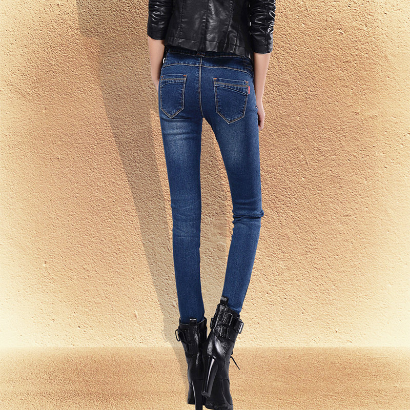 2019 Photo Shoot Spring And Autumn New Style Double Breasted High Waist Jeans Women's Elasticity Tight-Fit Skinny Pencil Pants L