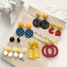 Brinco feminino boêmio redondo geométrico, brinco longo de acrílico com pingente de flor, grande, boêmio, coreano, joia redonda e quadrada