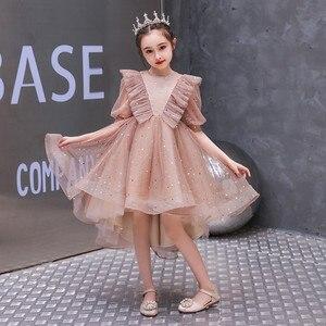 Małe dzieci dziecko elegancka impreza urodzinowa ceremonia księżniczka puszysta sukienka niemowlęta dziewczynki Host wybiegu sukienka z trenem