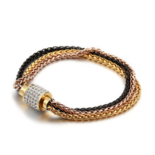 Three Layers Chain Bracelet For Women Men Hip Hop Punk Rose Gold Color Stainless Steel Crystal Magnet Buckle Fashion Bracelets stainless steel men bracelet bracelets for women couple bracelet punk hip hop handmade long square chain