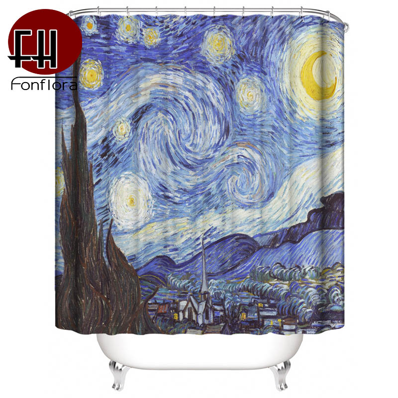 Van Gogh Starry Sky Print Shower Curtains Waterproof Mildew Proof Curtains For Bathroom Thick High Precision Material With Hooks