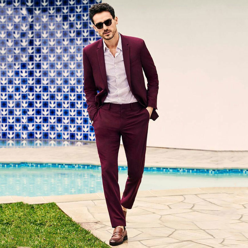 Burgundy Business Men Suits For Wedding Groom Tuxedo Coat Pants 2Piece Slim Fit Groomsmen Blazer Costume Homme Smoking Jacket