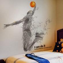 SHIJUEHEZI – autocollant mural de jeu de basket-Ball, sparadrap de sport créatif pour salon, chambre d'enfants, décoration de maison