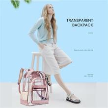 Stylish Backpack Women PVC Female Transparent Backpack Simplicity Zipper Waterproof Large Capacity Design School Bag MM50018 stylish geometric print and zipper design women s tote bag