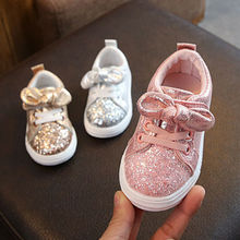 1-3 Years Toddler Baby Girls Crib Shoes Bow Sequin Crib