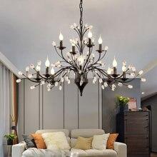 Americano led lustre de cristal para sala estar jantar cozinha salão preto vela do teto luminária quarto luz decorativa