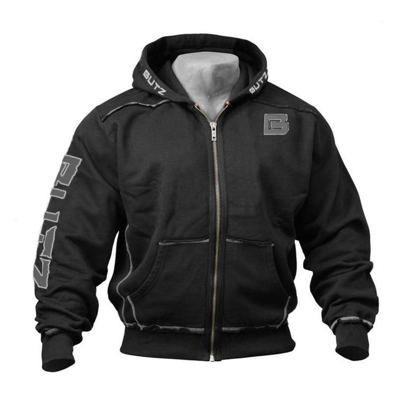 Thin Fitness Black Hooded Sweatshirt Big Pocket Bodybuilding Hoodies Men Gym Sweatshirt For Men Zipper Long Sleeve Hoodies
