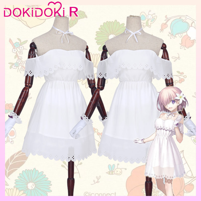 DokiDoki Game Fate/Grand Order Cosplay Mash Kyrielight/Matthew Kyrielight Costume Women White Dress Fate Cosplay 1