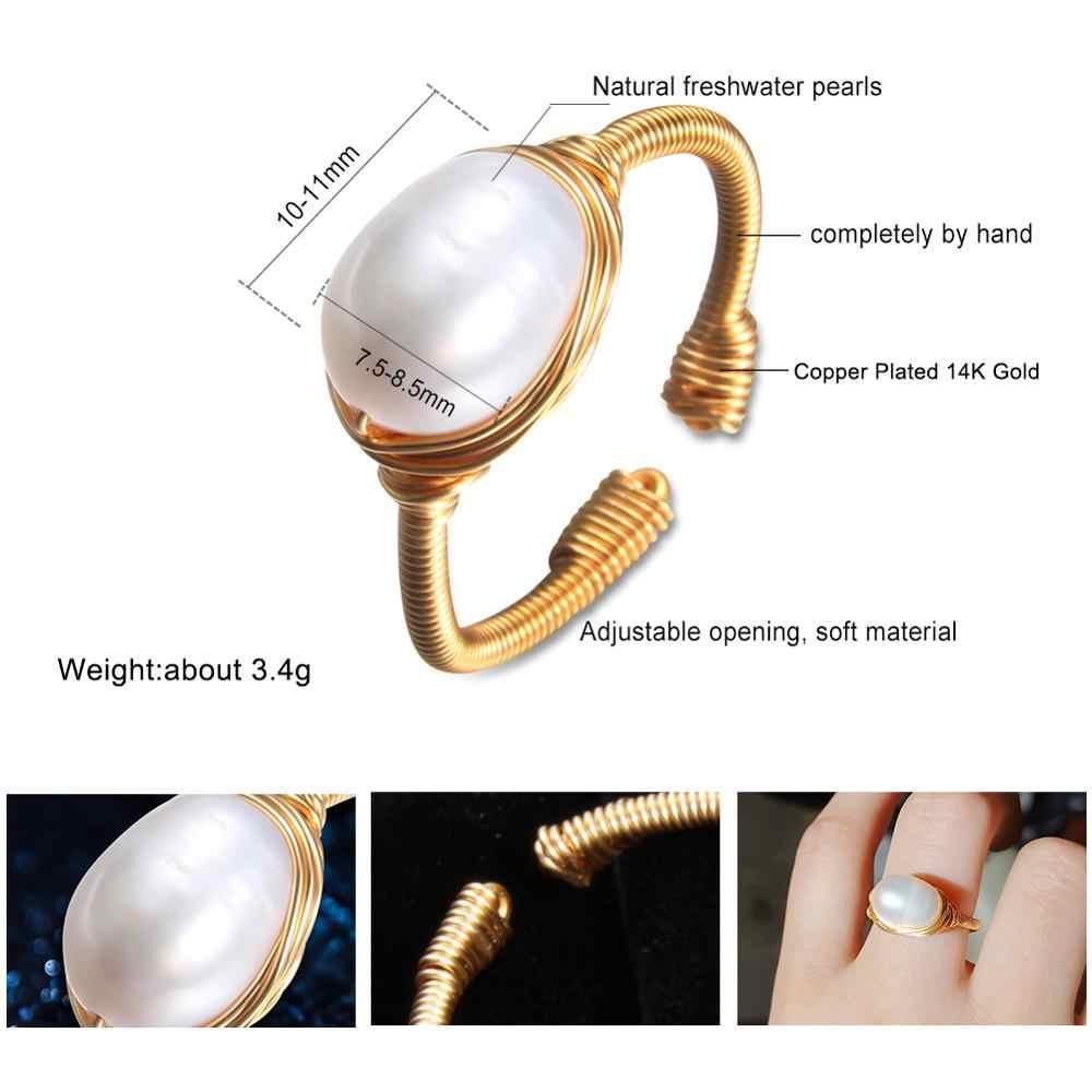 Anel de pérola Natural de água doce anel pérola Para mulheres Handmade Criativo Festa de Casamento anéis De Ouro de luxo anéis de pérola