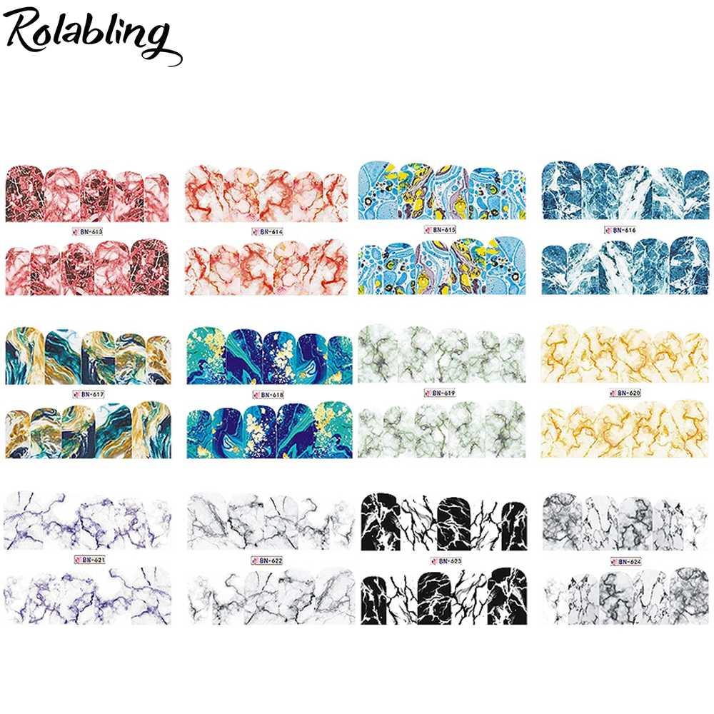 Rolablingหินอ่อนเรขาคณิตSeriesสติ๊กเกอร์เล็บสติ๊กเกอร์รูปลอกน้ำWraps Slidersเล็บอุปกรณ์เสริมสติ๊กเกอร์ตกแต่งเล็บ