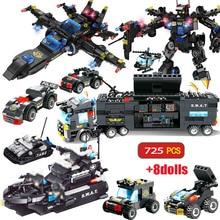 725 шт городской полицейский участок, строительные блоки, игрушки городской спецназ, сборный грузовик, блок, развивающая игрушка для детей, рождественский подарок