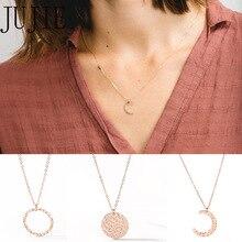 JUJIE Trendy 316L Stainless Steel Necklace Women Moon Pendants Charm Necklace For Women Necklace Fashion Jewelry