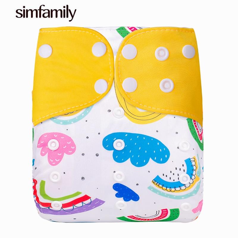 Новые Многоразовые Детские Подгузники Simfamily, 1 шт., один размер, Регулируемые моющиеся подгузники, замшевые подгузники для детей 3-15 кг