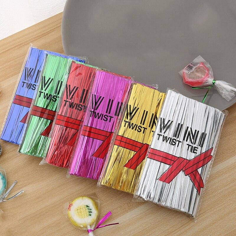 800Pcs/Pack Wire Metallic Twist Ties For Cello Candy Bag Steel Baking Packaging Ligation Lollipop Dessert Sealing Twist Tie