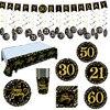 زينة حفلات أعياد الميلاد ، 18 ، 30 ، 40 ، 50 أو 60 سنة ، لوحة بالون ذهبي أسود ، الذكرى السنوية السعيدة ، لوازم الزفاف للبالغين