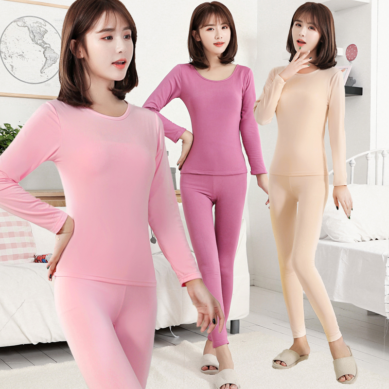 Warm Underwear Woman Plush Long Sleeve Autumn Clothes Autumn Trousers Woman Round-collar Body-building Maiden Home Clothing