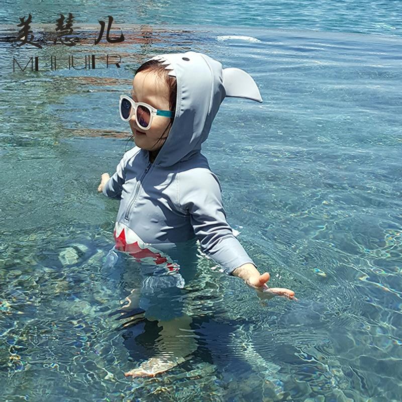 Cartoon Shark Children Siamese Swimsuit Cute Small CHILDREN'S Boy Children Baby Sun-resistant Bathing Suit Swimwear Infants