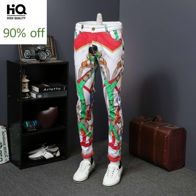 Fashion Cartoon Printing Trousers For Men Punk Style Casual Straight Leg Jeans Top Quality Summer Lightweight Denim Pants Homme